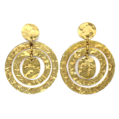 Tumbaga Gold Hammered Circle Large Earrings