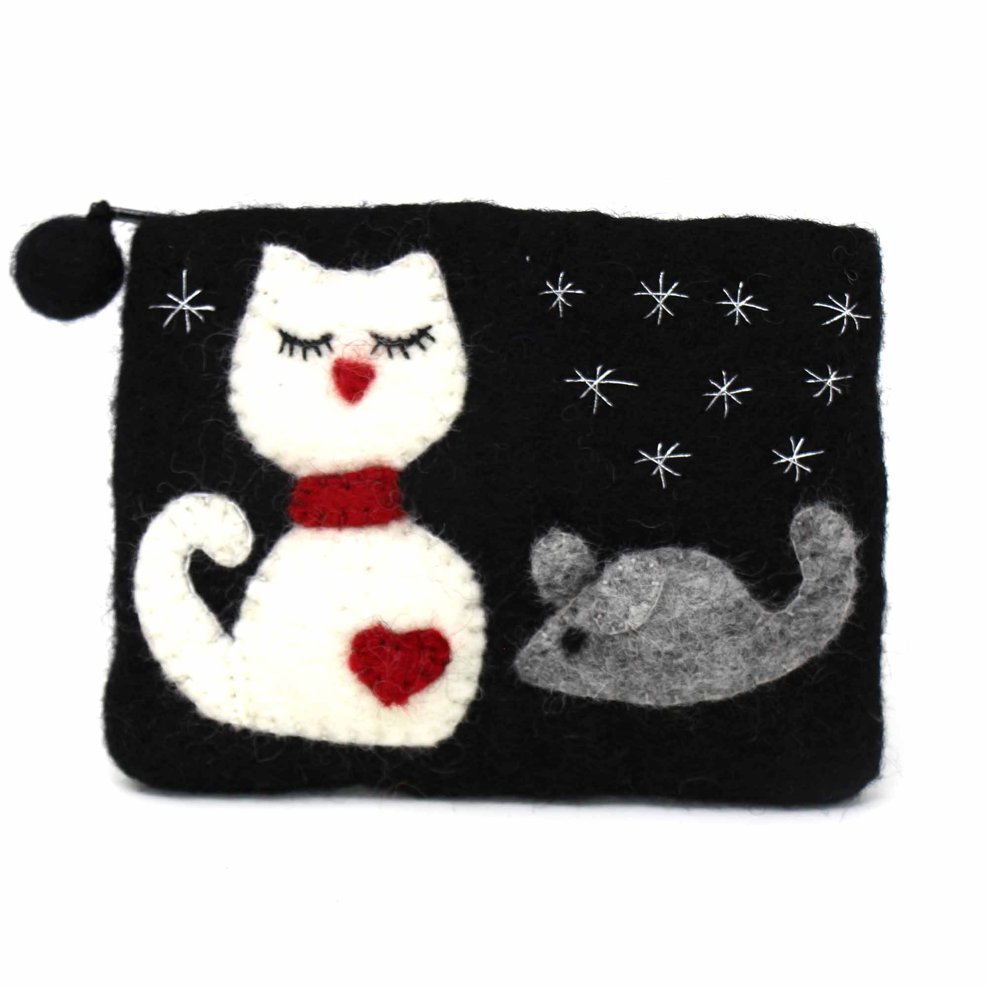 Cat & Mouse Felt Coin Purse
