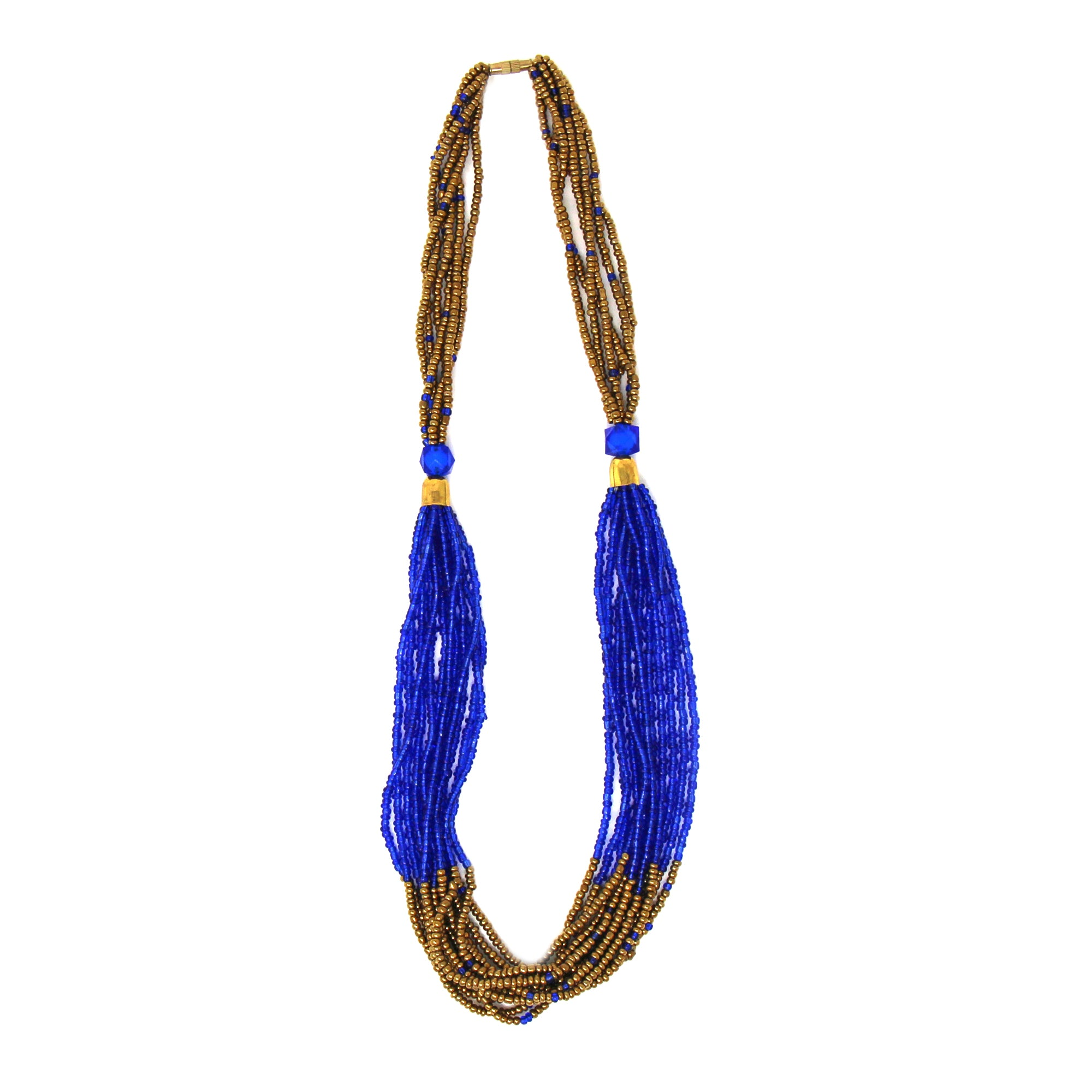 Multistrand Maasai Bead Necklace, Lapis Blue and Gold