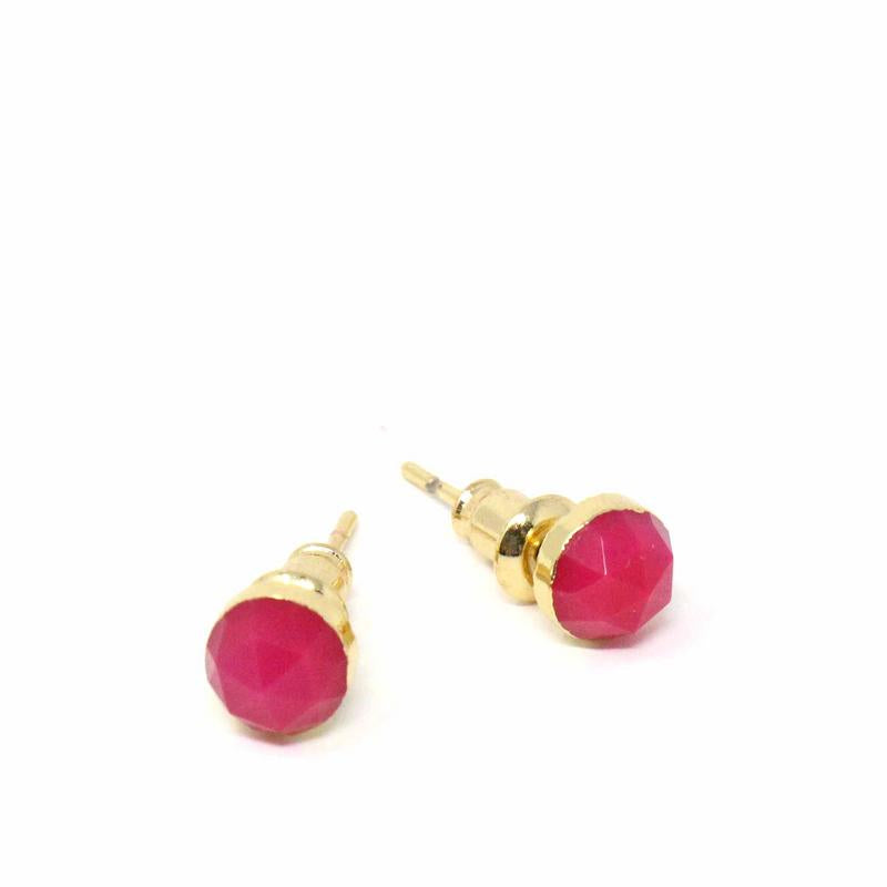 Gold and Fuchsia Agate Stud Earrings
