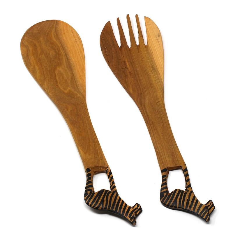 Wood Serving Set, Zebra Design