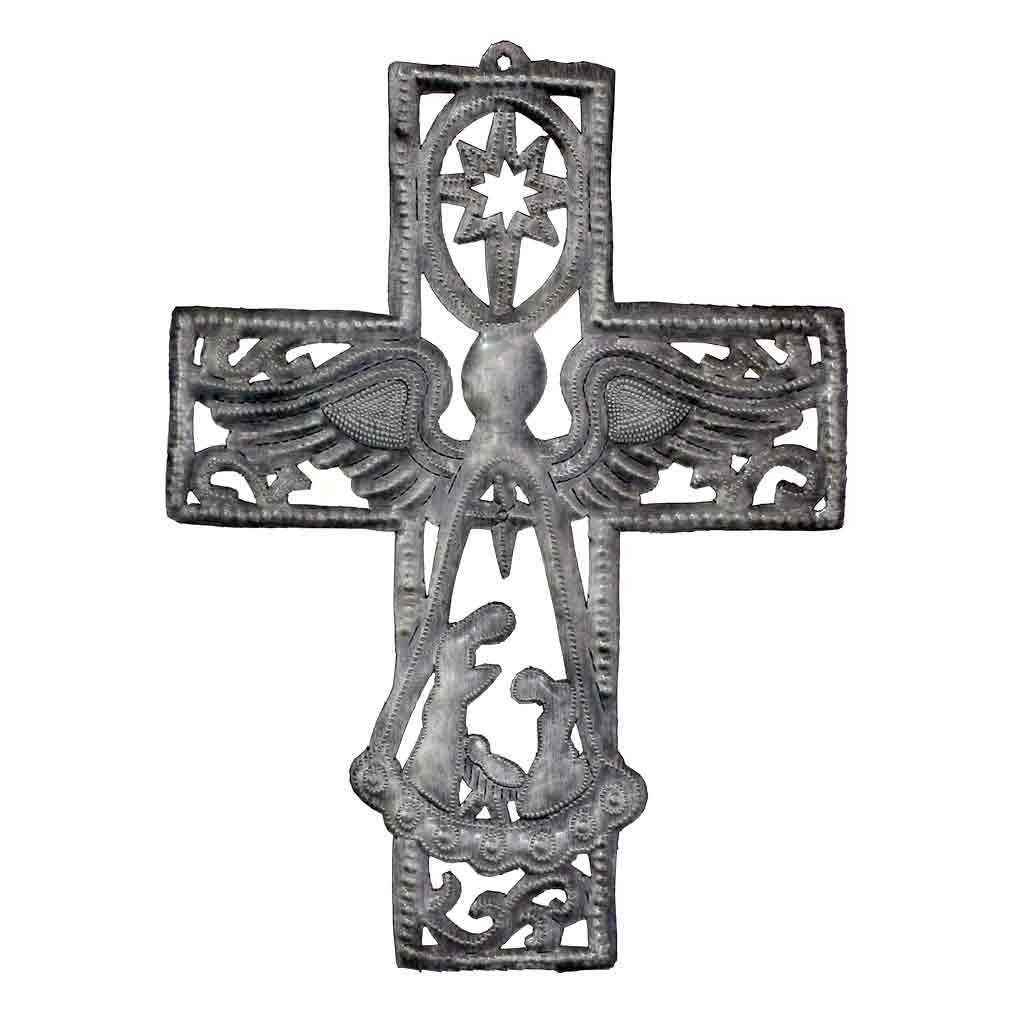 "Cross with Angel with Nativity Scene Haitian Metal Drum Wall Art (10"" x 14"")"