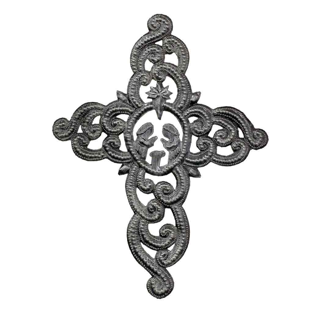 "Cross with Nativity Scene, Ornate Haitian Metal Drum Wall Art (9.5"" x 12"")"