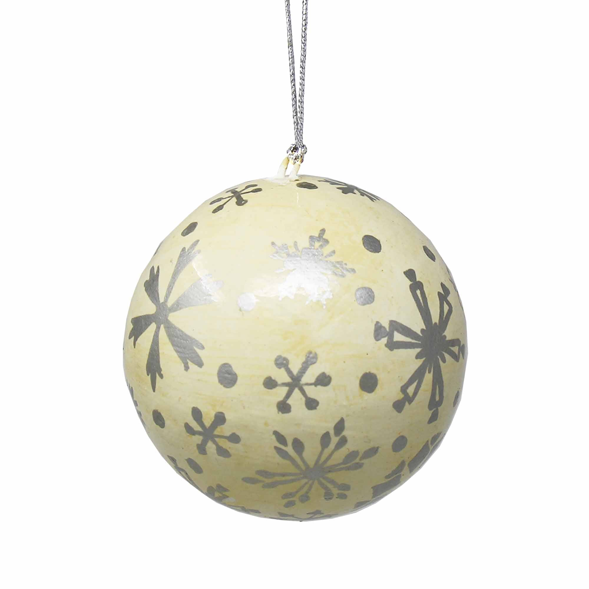 Handpainted Silver Snowflakes and Dots Papier Mache Hanging Ball Ornament