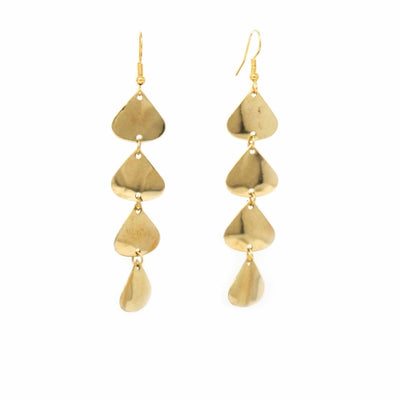 Geometric Tiered Brass Drop Earrings - Pack of 3
