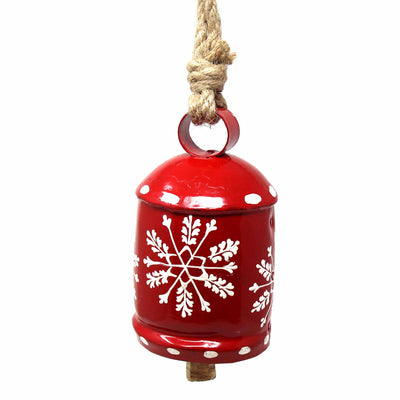 Recycled Rustic Red and White Snowflake Irong Hanging Bell