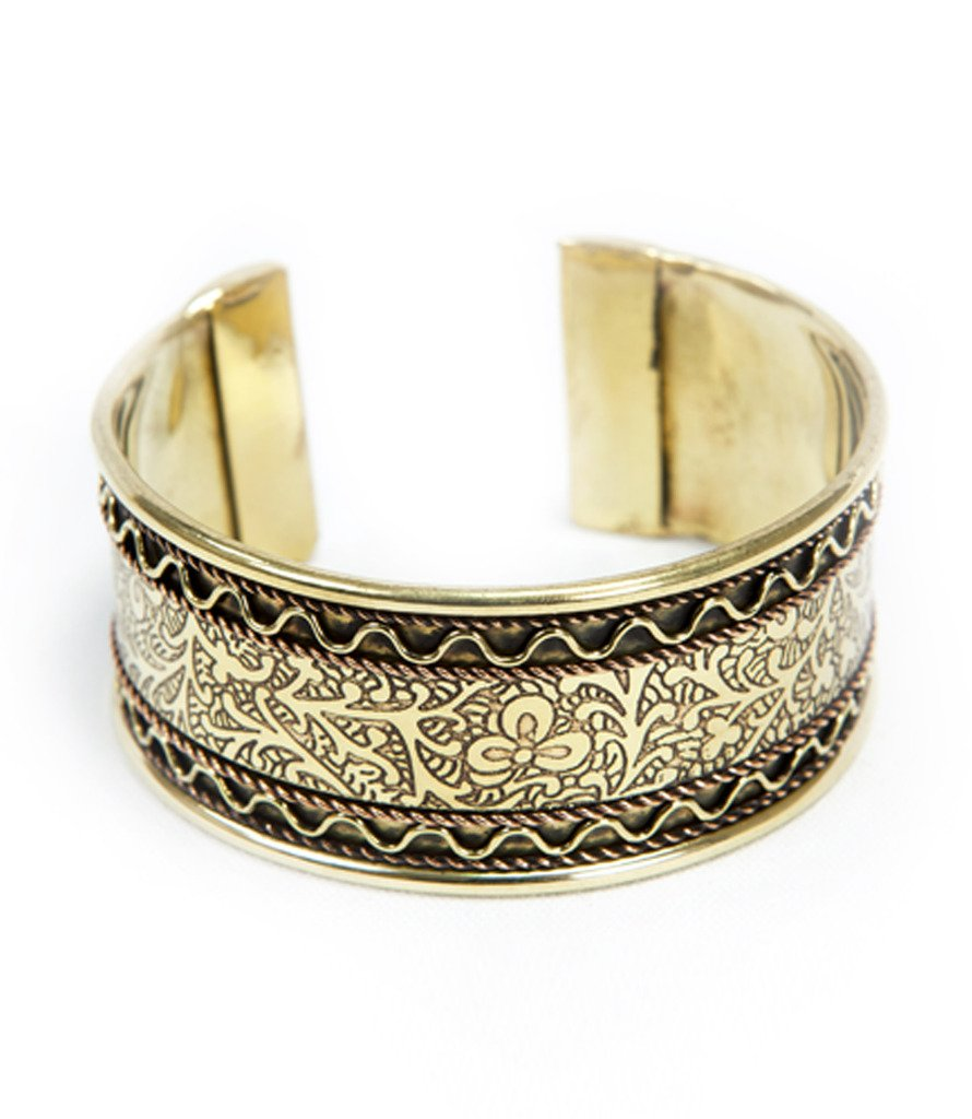 Copper and Brass Floral Cuff Bracelet