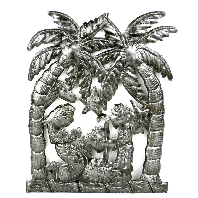 "CLEARANCE Nativity Palm Tree Haitian Metal Drum Wall Art (10.5"" x 9"")"