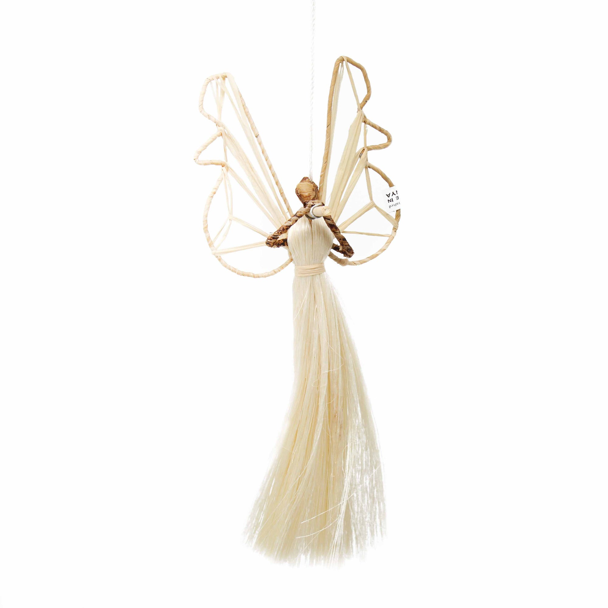 9 Inch Sisal Angel Ornament, Horn