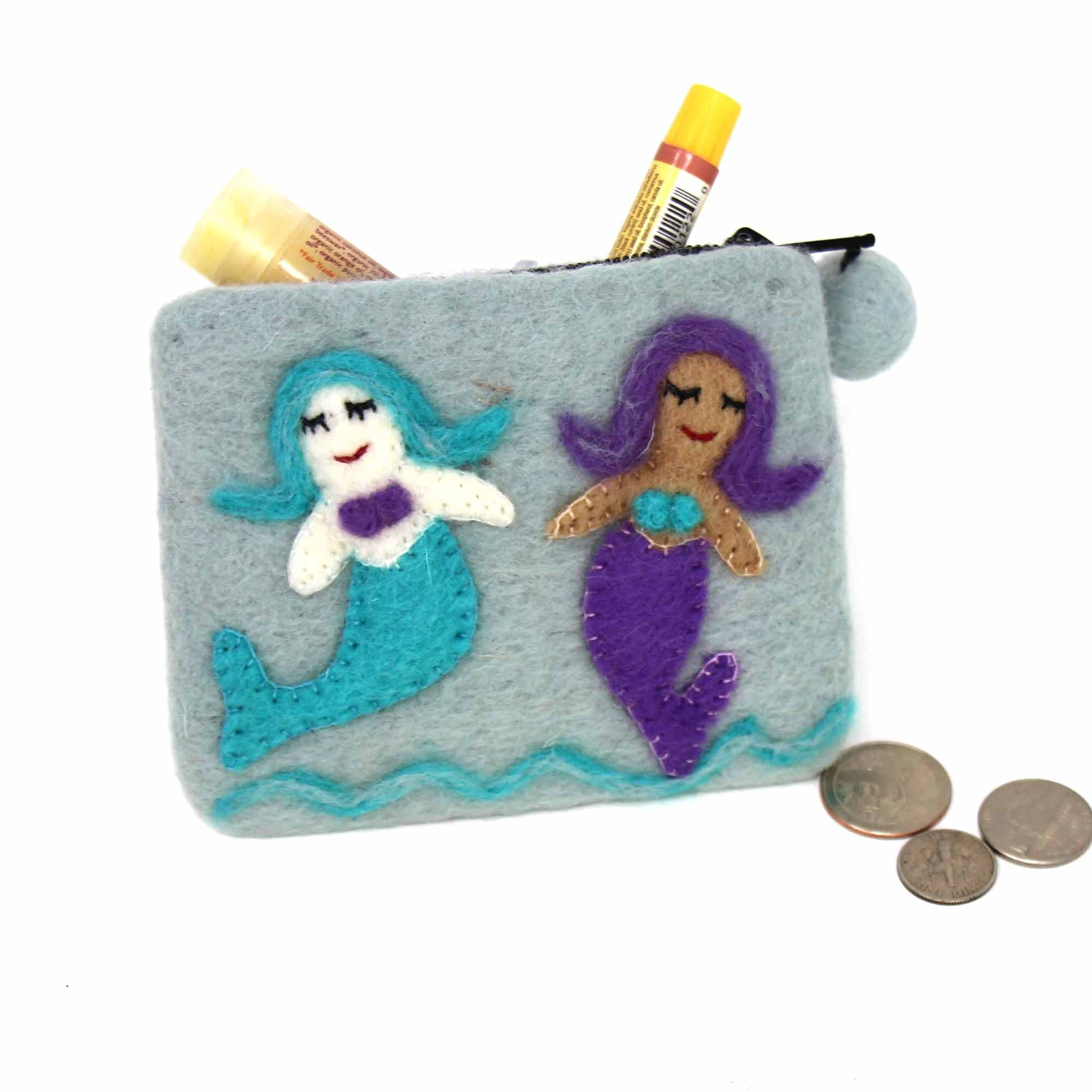 Mermaid Friends Felt Zipper Coin Purse