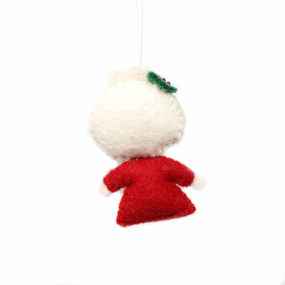 Hand Crafted Felt from Nepal: Ornament, Mrs. Claus