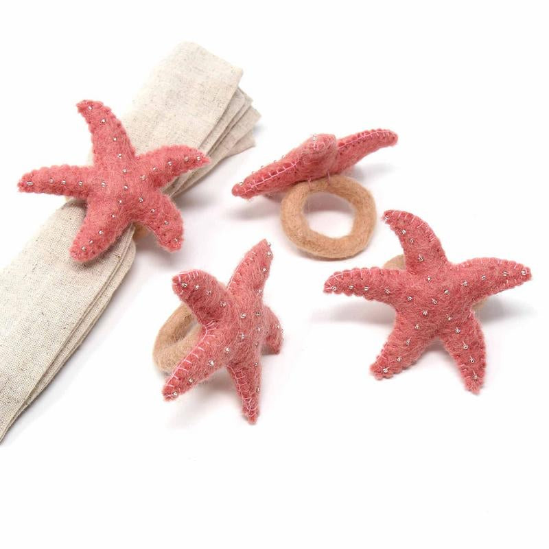 Light Rose Starfish Felt Napkin Rings, Set of 4