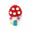 Hand Crafted Felt from Nepal: Mushroom Hair Clip, Red