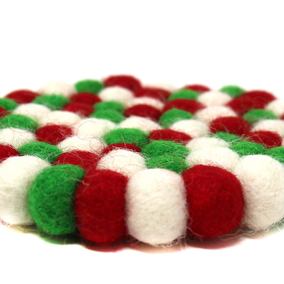 Hand Crafted Felt Ball Trivets from Nepal: Round, Christmas