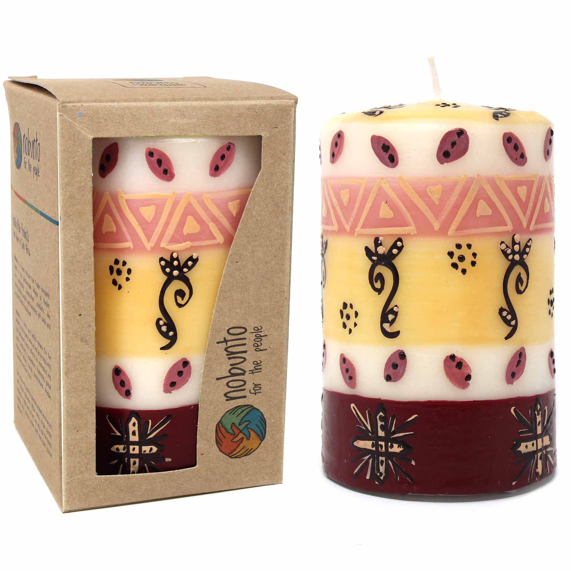 Hand-Painted Pillar Candle in Gift Box, 4-inch (Halisi Design)