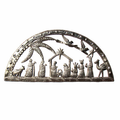 Christmas Nativity Scene Haitian Metal Drum Wall Art