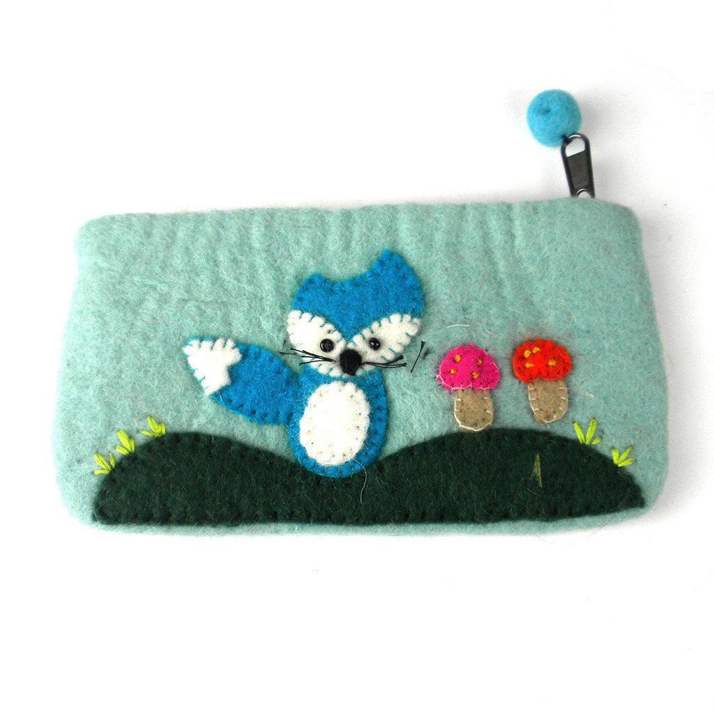 "Hand Crafted Felt Pouch from Nepal: 8"" x 4.5"", Blue Fox"