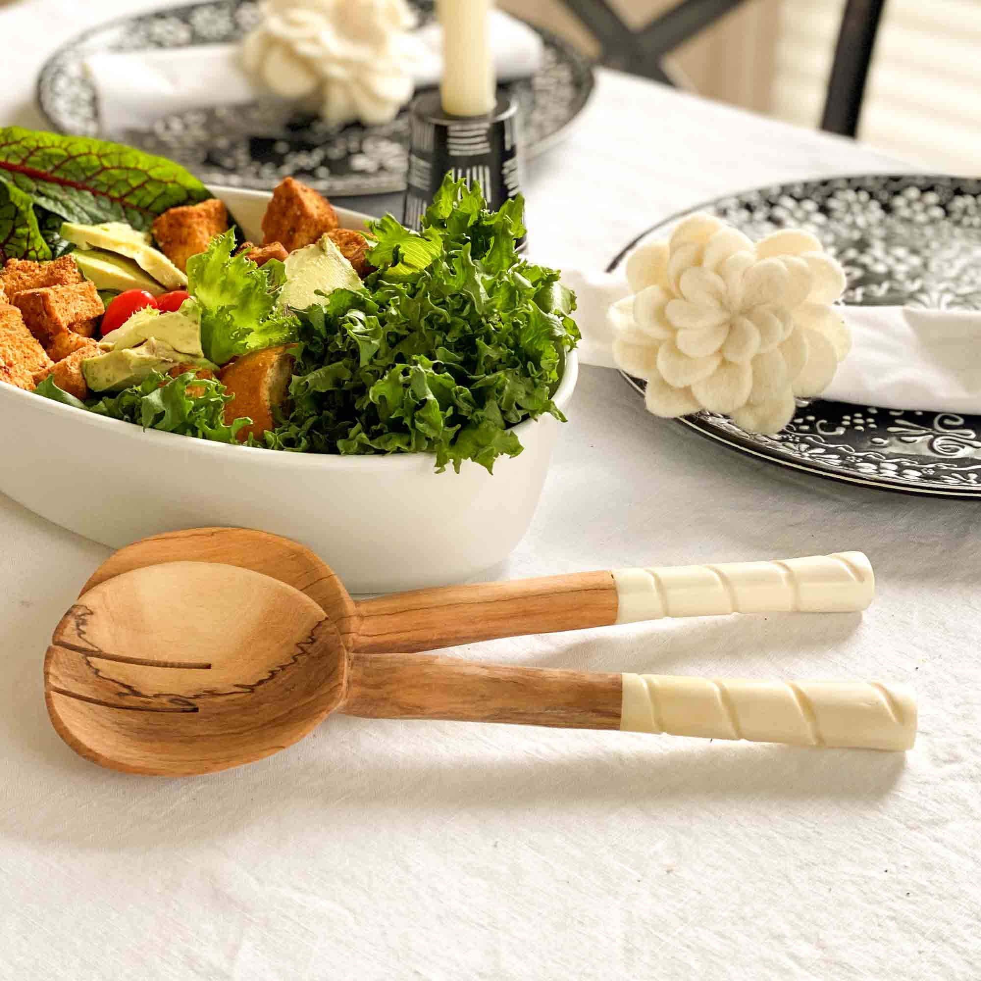 Olive Wood Serving Set, Natural White Bone Handles - Etched Design