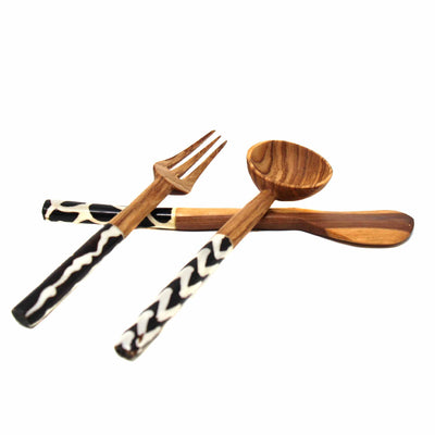 Olive Wood Appetizer Set of 3 (Fork, Spoon, Spreader)