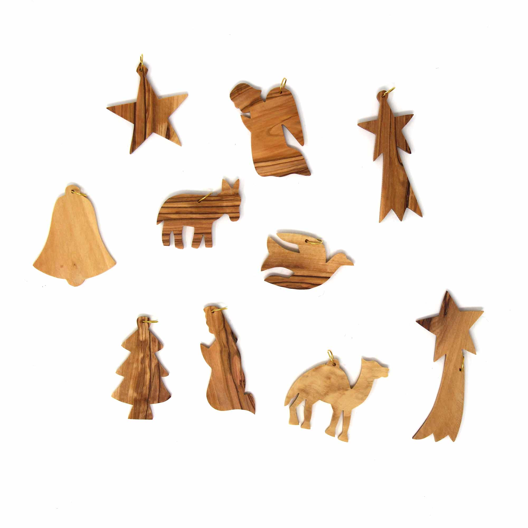 Set of 10 Olive Wood Ornaments - Christmas Icons