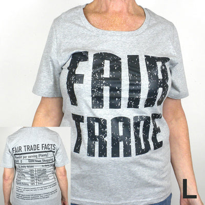 Gray Fitted Tee Shirt FT Front - FT Facts on Back - Large