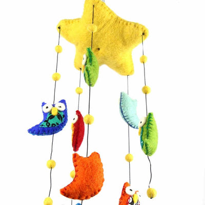Hand Crafted Felt from Nepal: Mobile, Brights Owls