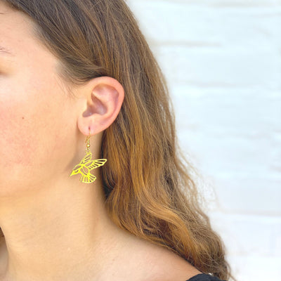 Tumbaga Gold Birds Drop Earrings