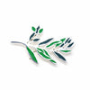 Mexican Taxco Green Branch Silver-Plated Brooch