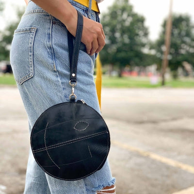 Recycled Rubber Small Round Wristlet