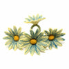 Hand Crafted Felt from Nepal: Set of 4 Napkin Rings, Daisies, Midnight
