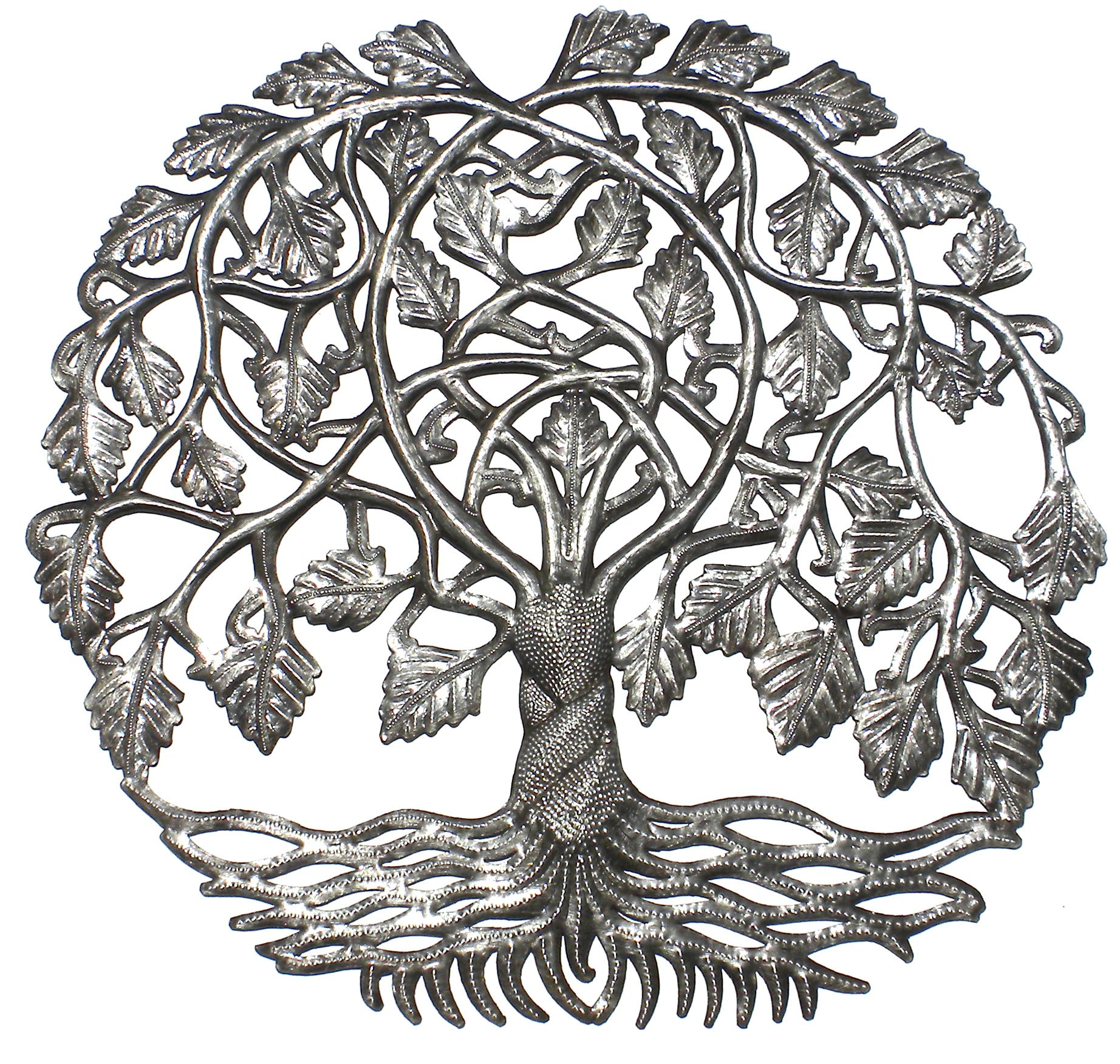 Weeping Tree of Life Haitian Metal Drum Wall Art, 23""