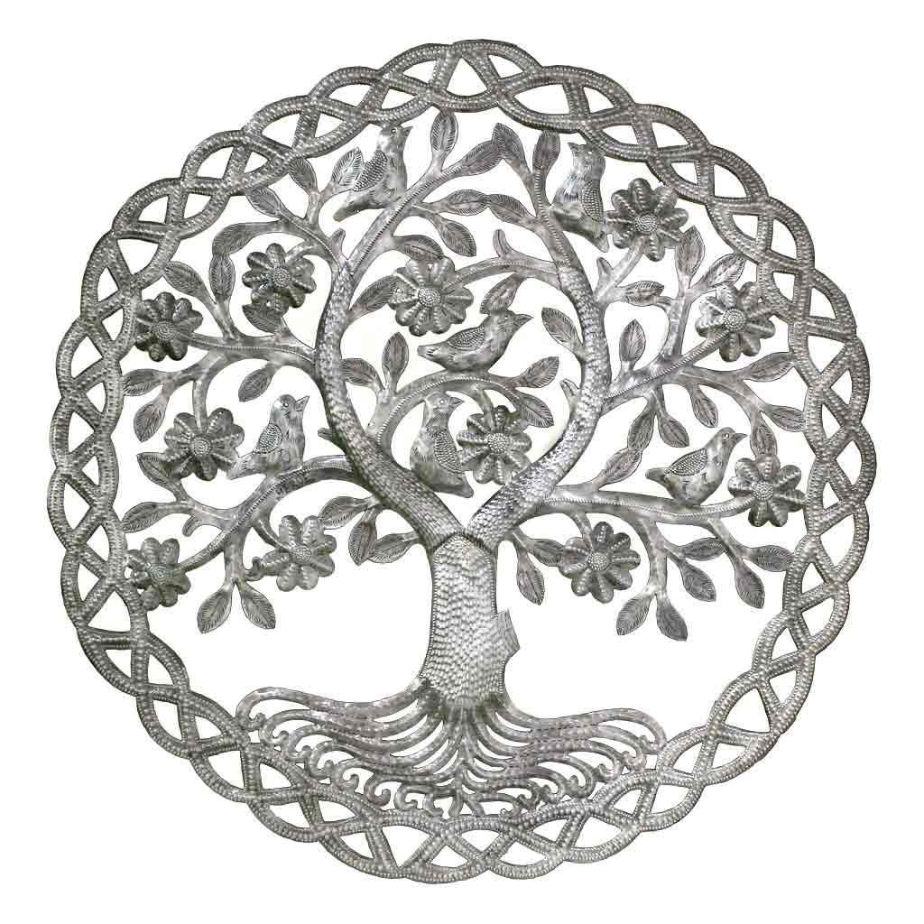 Dancing Tree of Life Haitian Metal Drum Wall Art, 24""
