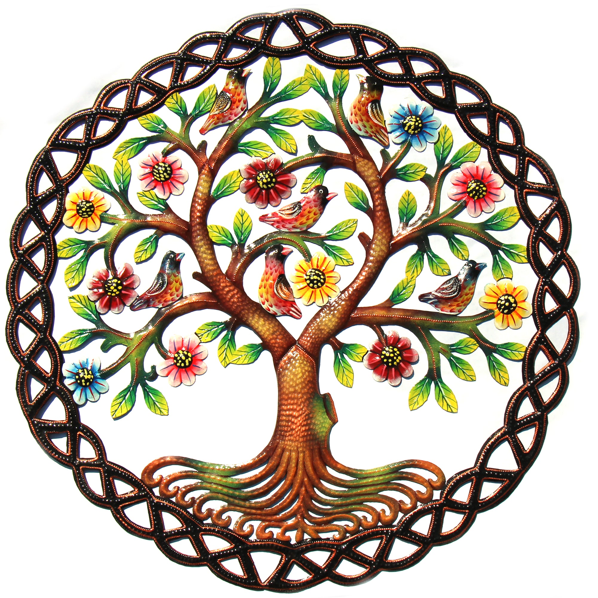 Rooted Tree of Life Braided Ring Painted Haitian Metal Drum Wall Art, 24""