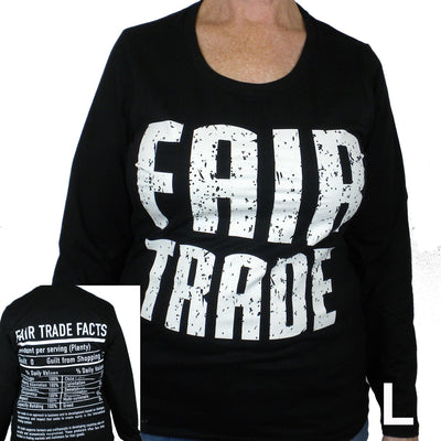 Black Tee Shirt Long Sleeve FT Front - FT Facts on Back - Small
