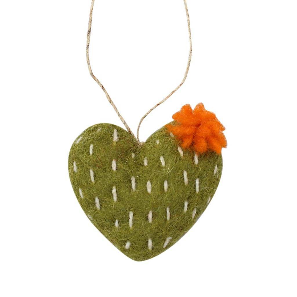 Hand Crafted Felt from Nepal: Ornament, Olive Heart Cactus with Orange Flower