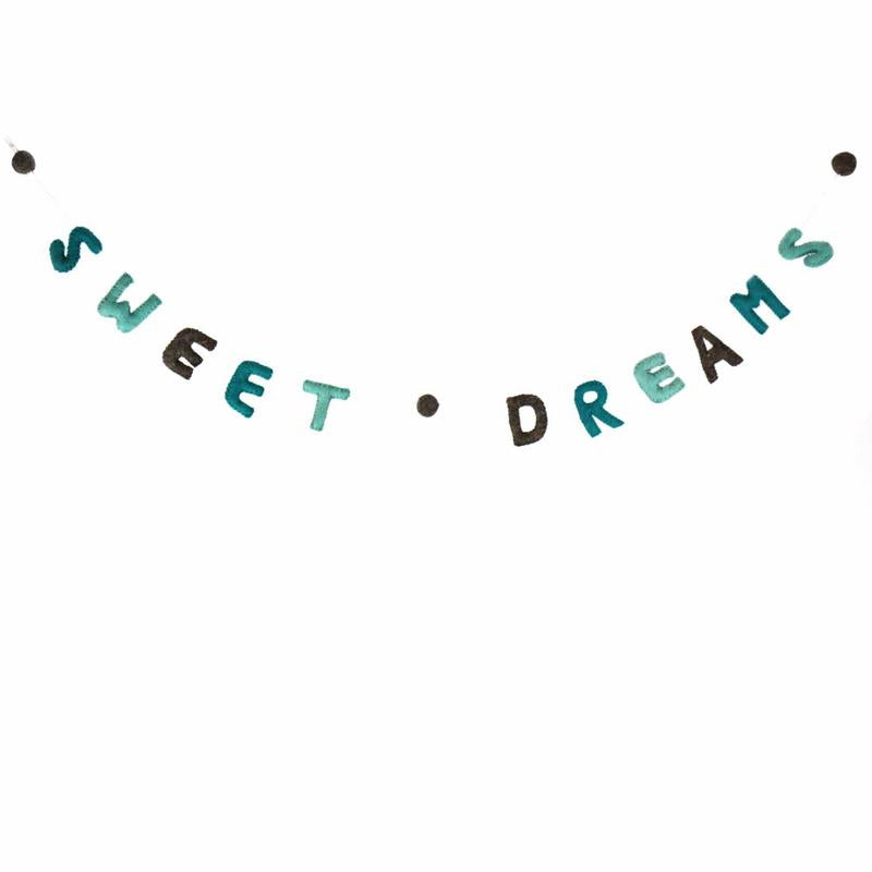 Sweet Dreams Felt Garland Kids' Room Décor, Blue