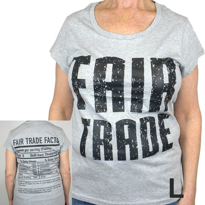 Gray Tee Shirt Cap Sleeve FT Front - FT Facts on Back- Large