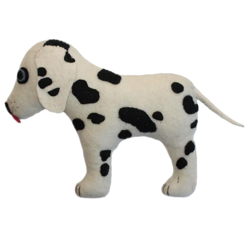 Dalmatian Shaped Wool Throw Pillow
