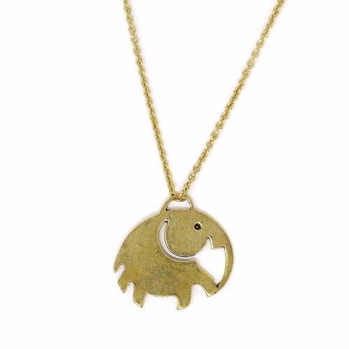 Elephant Pendant Brass Necklace - Pack of 3