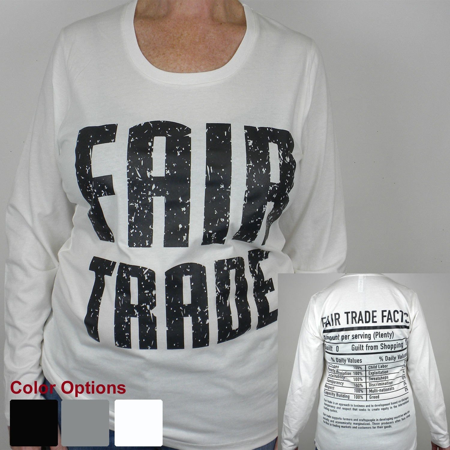 White Tee Shirt Long Sleeve FT Front - FT Facts on Back - Medium