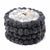 Black & Grey Flower Felt Ball Coasters, Set of 4