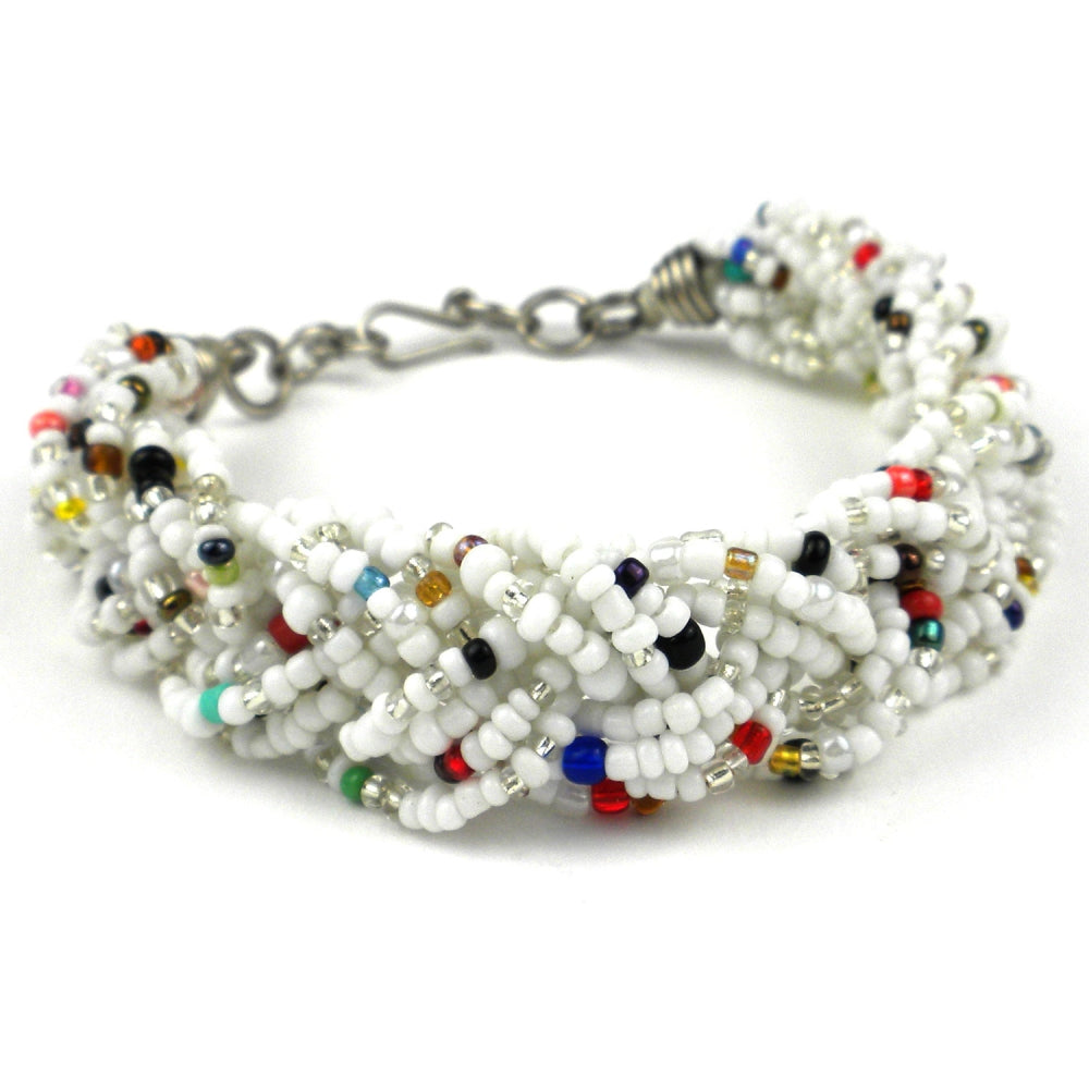 Braided Bead Bracelet - White