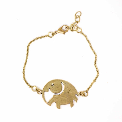 Elephant Brass Bracelet - Pack of 3