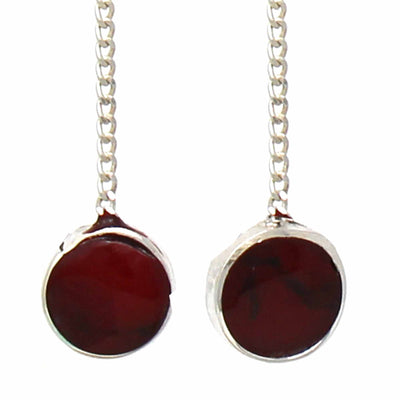 Sterling Silver Threader Chain Earrings with Red Jasper