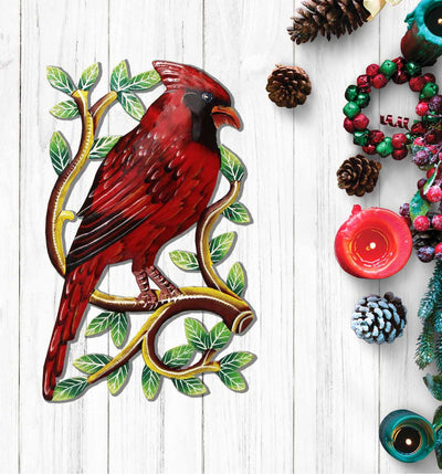 Painted Cardinal on Branch Wall Art
