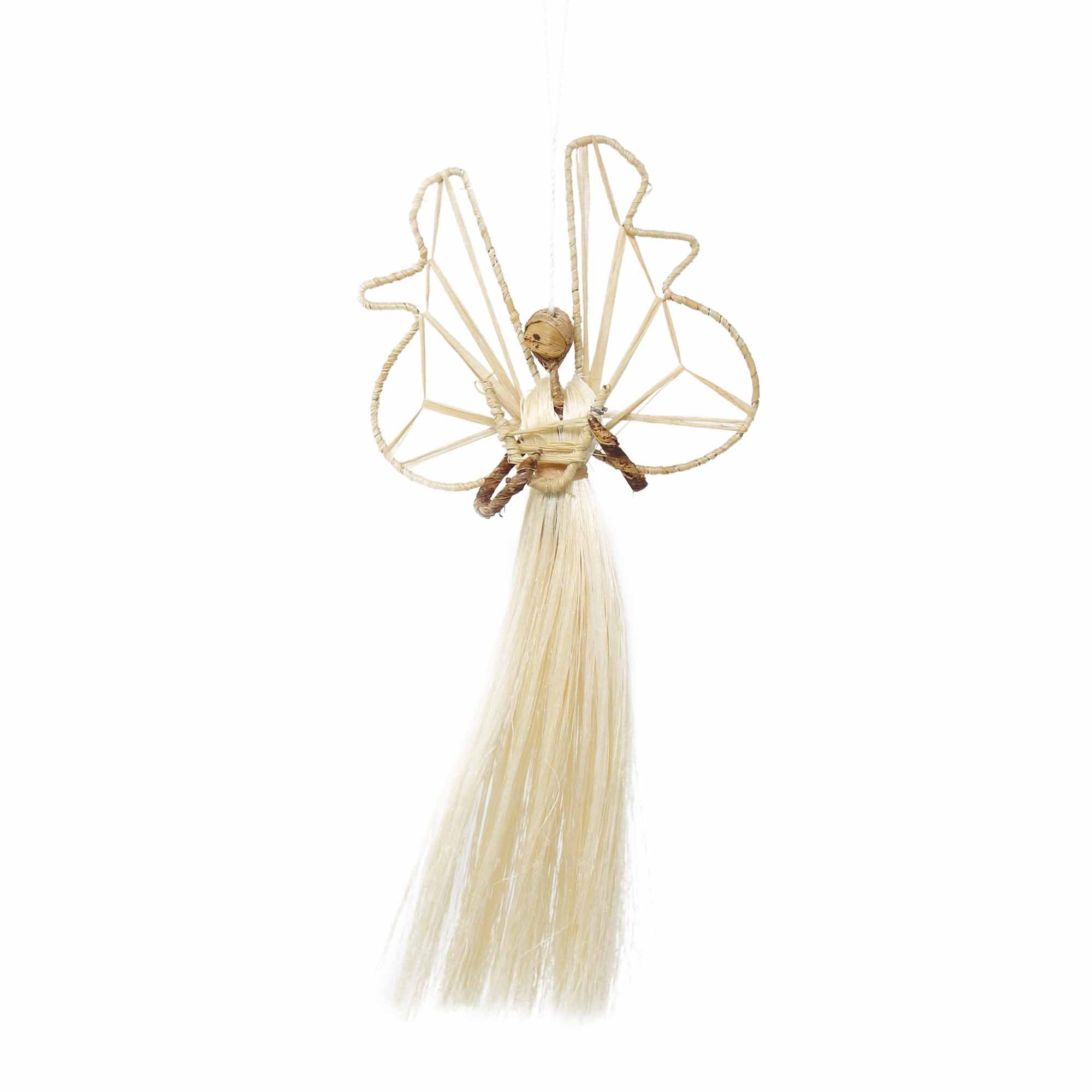9 Inch Sisal Angel Ornament, Harp