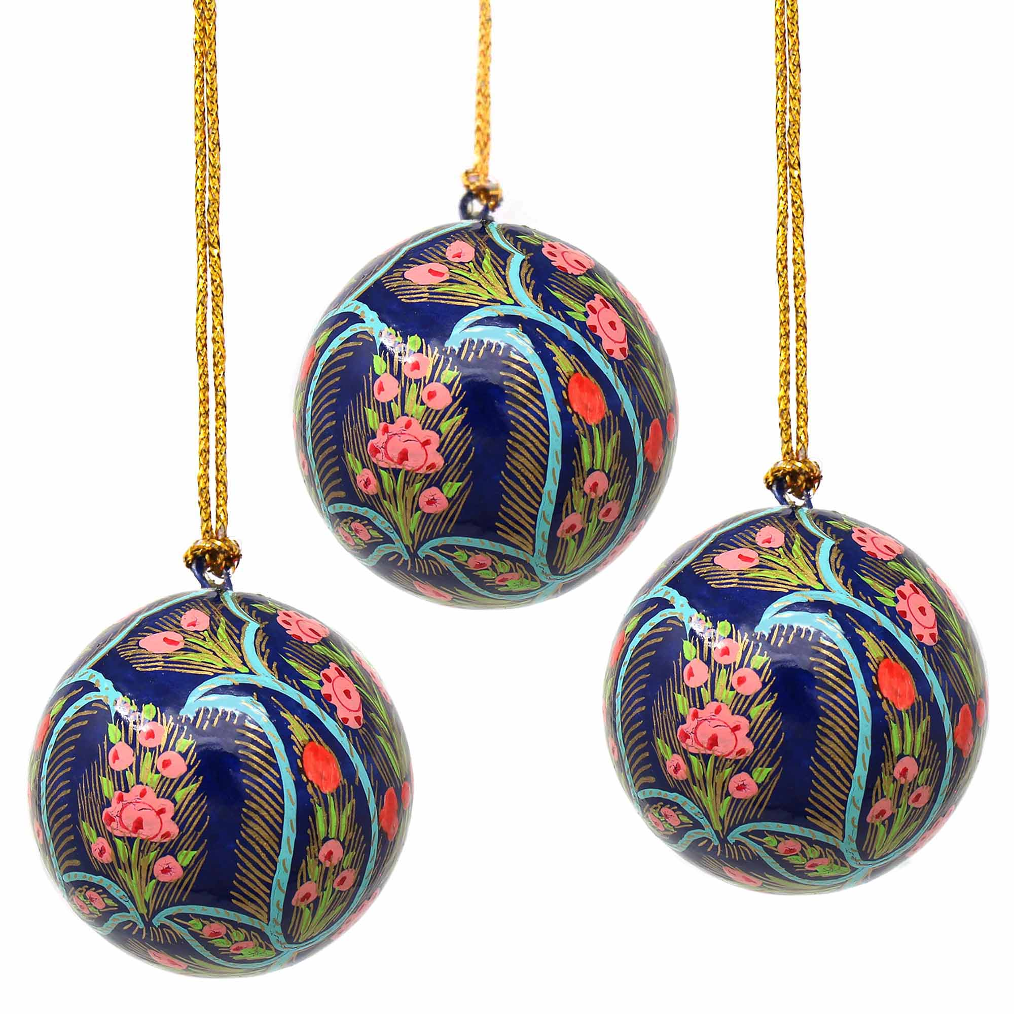 Handpainted Ornaments, Coral & Blue Floral - Pack of 3