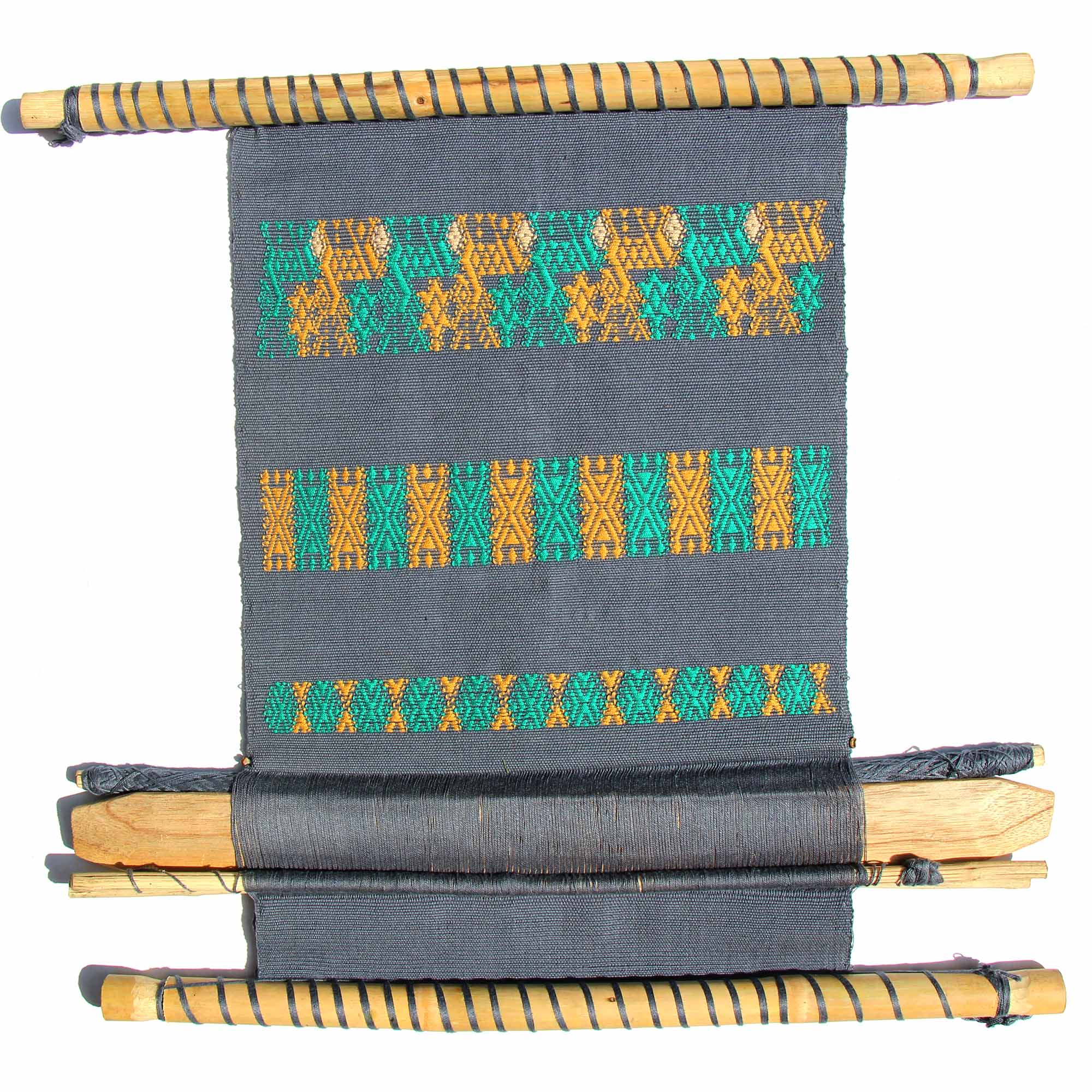 Guatemalan Hand Loom Wall Tapestry, Smoky Blue with Mustard
