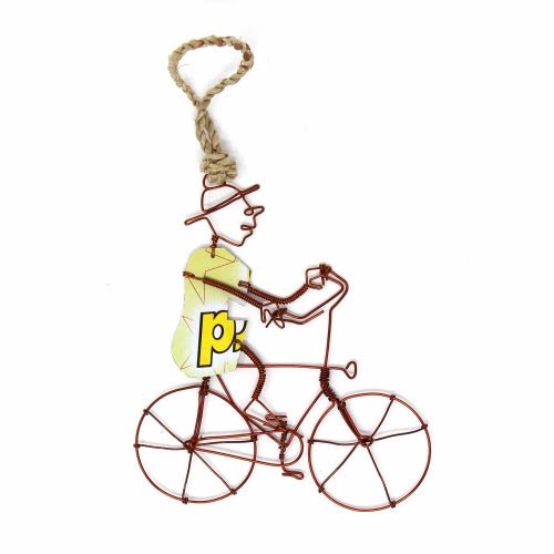 Recycled Wire Ornament Bicycle Rider in Hat