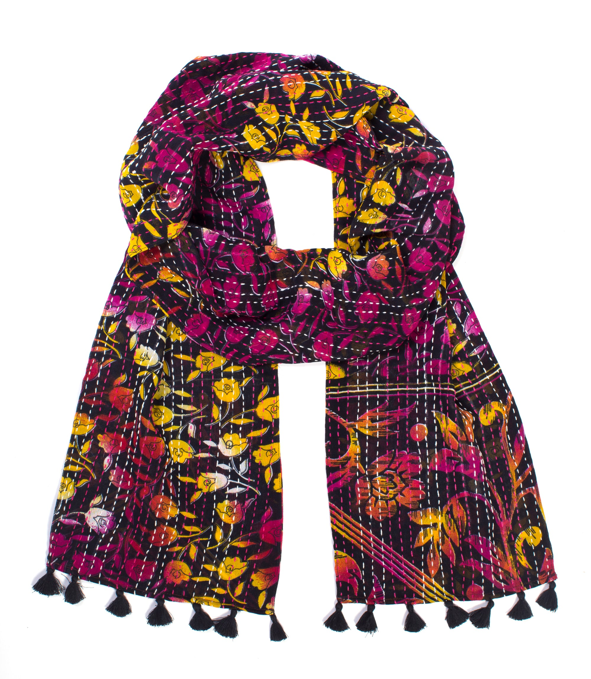 Kantha Sari Scarf - Fall Assorted - Sold Individually
